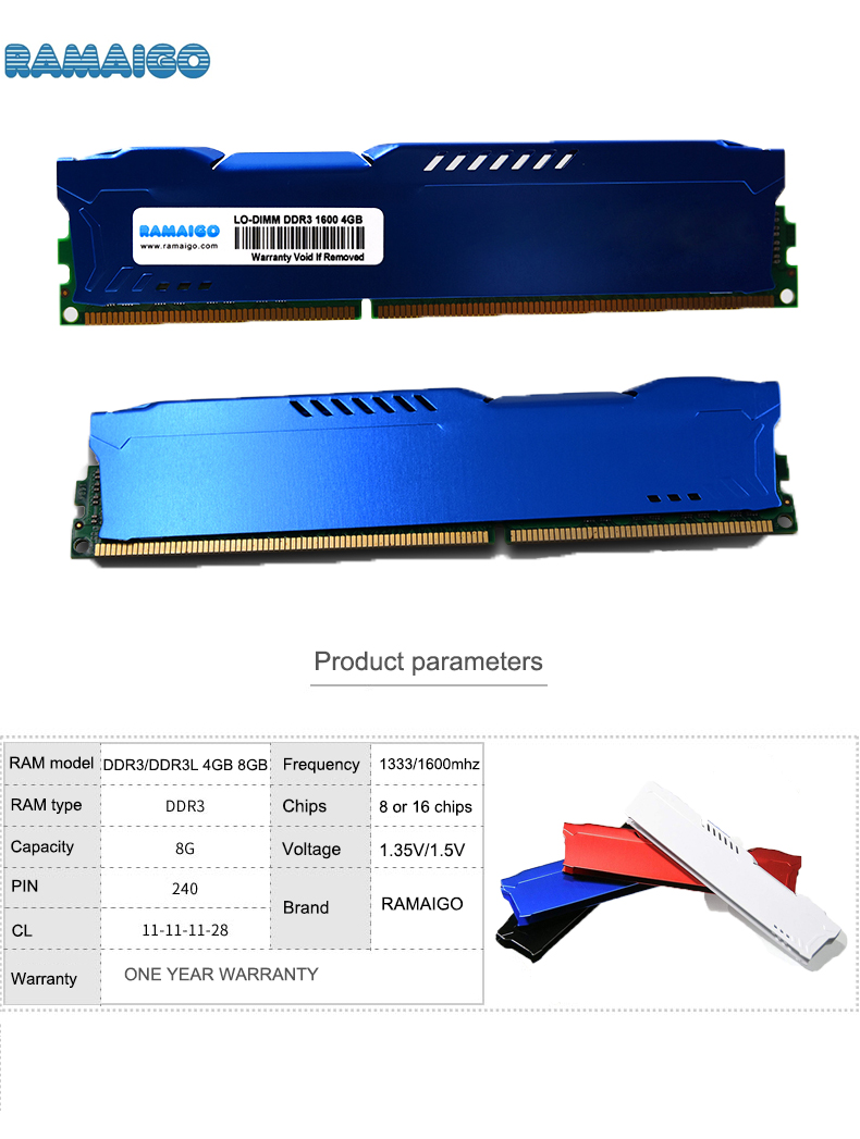 <font><b>DDR3</b></font> 4GB <font><b>8GB</b></font> 16GB 1600mhz <font><b>1866mhz</b></font> Desktop Memory with HeatSink DDR 3 ram pc dimm for all Intel and AMD motherboards image