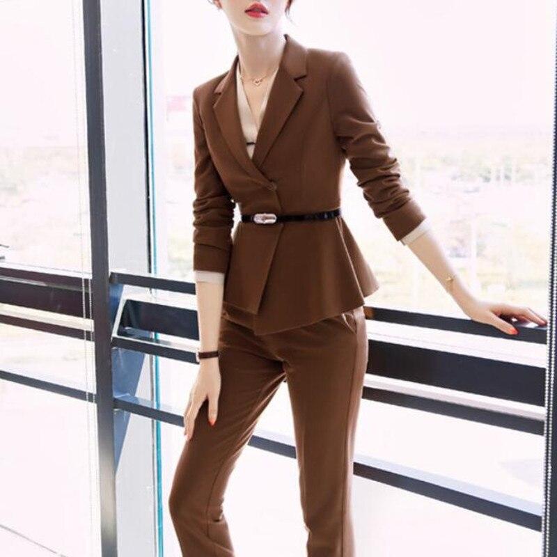 Pant Suits For Women Set 2019 Office Ladies Wear Formal Work Long Sleeve Blazer Jacket Pants Elegant Pantsuits Plus Size XXXL