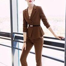 Pant Suits For Women Set 2019 Office Ladies Wear Formal Work Long Sleeve Blazer Jacket Pants Elegant Pantsuits Plus Size XXXL цена и фото