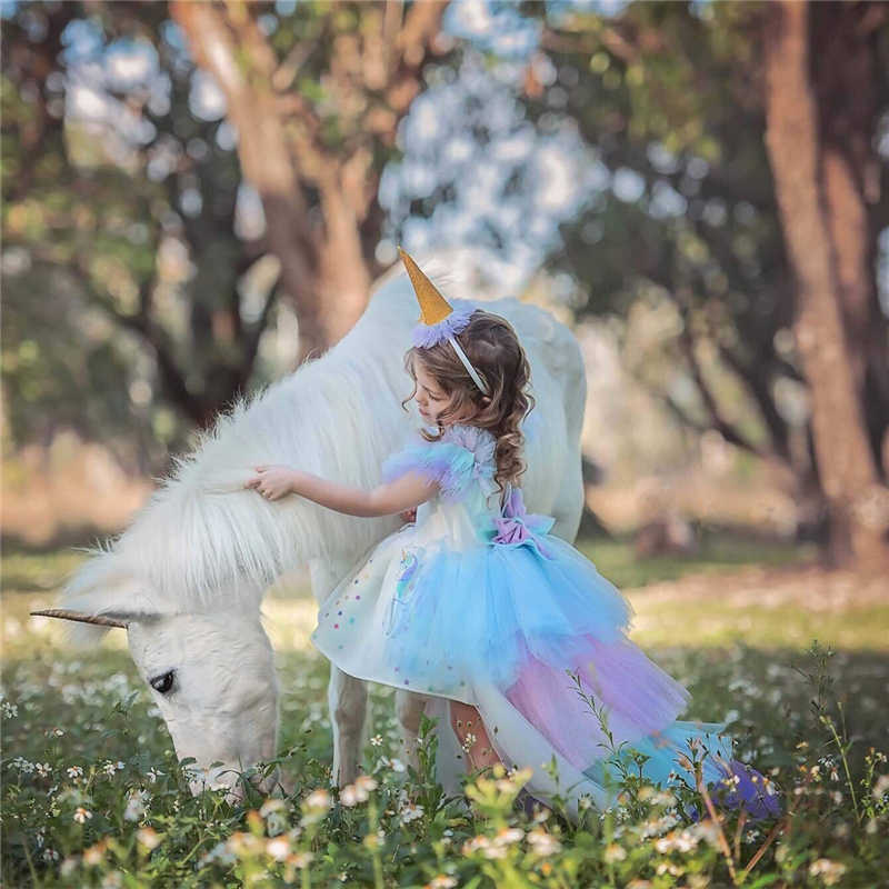 크리스마스 소녀 유니콘 드레스 긴 꼬리 + 날개 가발 Hairband 아기 소녀 공주 생일 파티 공 가운 아이 말 옷