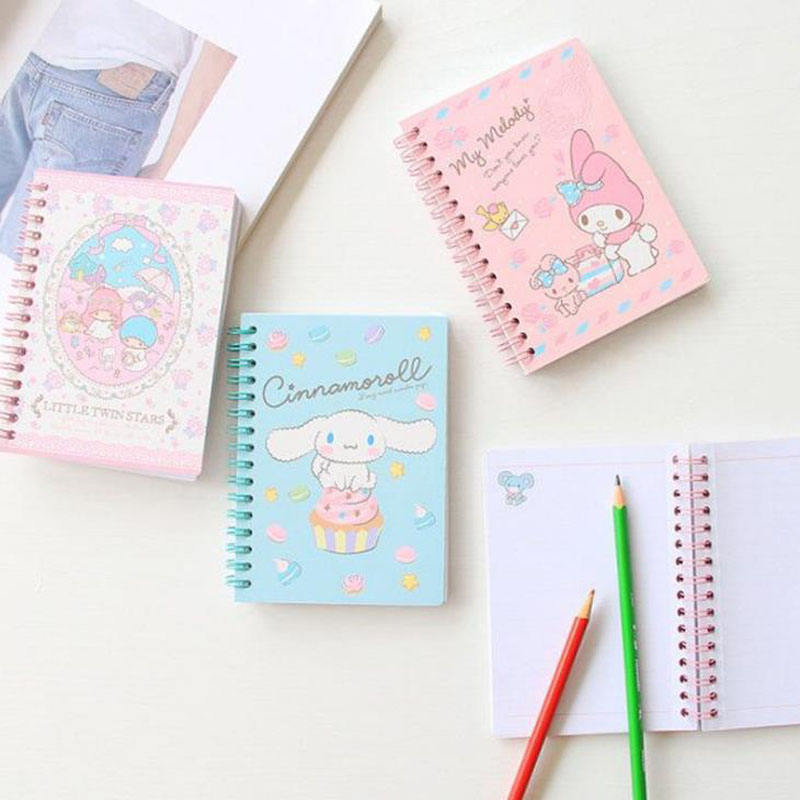 1 Pcs Cartoon My Melody Cinnamoroll Twin Star Spiral Coil Notebooks Scrapbooking Portable Diary Planner Album Stationery Gifts