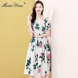 Image 5 - MoaaYina robe styliste, manches bouffantes, imprimé Floral, roses, en coton, pour vacances, printemps été