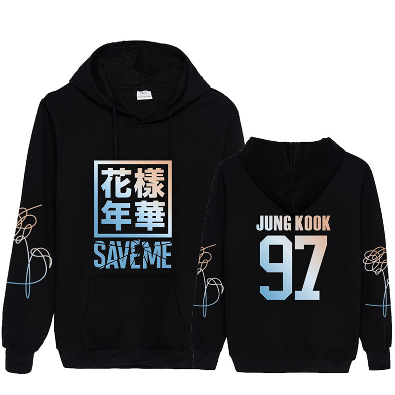 New Arrival Kpop Bangtan Boys Young Forever Save Me Member Name Korean Hoodie Pullover K-pop Harajuku Sweatshirt