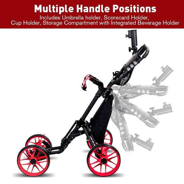 Folding Aluminum Alloy Golf Trolley 4 Wheels Golf Bag Pull Push Cart Umbrella Cup Holder Adjustable Trolley with Footbrake 3