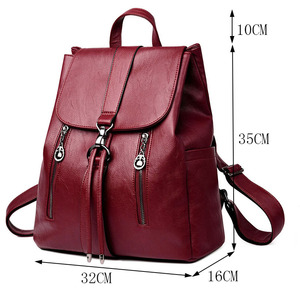 Image 2 - LANYI 2018 New Double zipper Backpack High Quality Leather School Bags For Teenager Girls Black Women Backpack Travel Bags