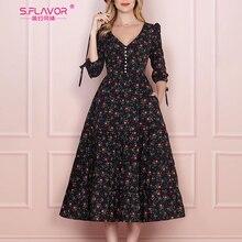 S.FLAVOR 여성 빈티지 Boho 플로랄 프린트 드레스 2020 여름 3 분기 슬리브 V 넥 파티 드레스 우아한 라인 드레스