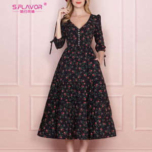 Image 1 - S.FLAVOR Women Vintage Boho Floral Printed Dress 2020 Summer Three Quarter Sleeve V Neck Party Dress Elegant A Line Dress