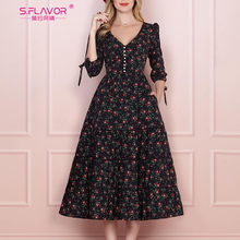 S. Smaak Vrouwen Vintage Boho Bloemen Gedrukt Jurk 2020 Zomer Drie Kwart Mouw V hals Party Dress Elegante Een Lijn Jurk