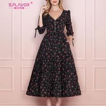 Sabor feminino vintage boho floral impresso vestido 2020 verão três quartos manga v pescoço vestido de festa elegante uma linha vestido