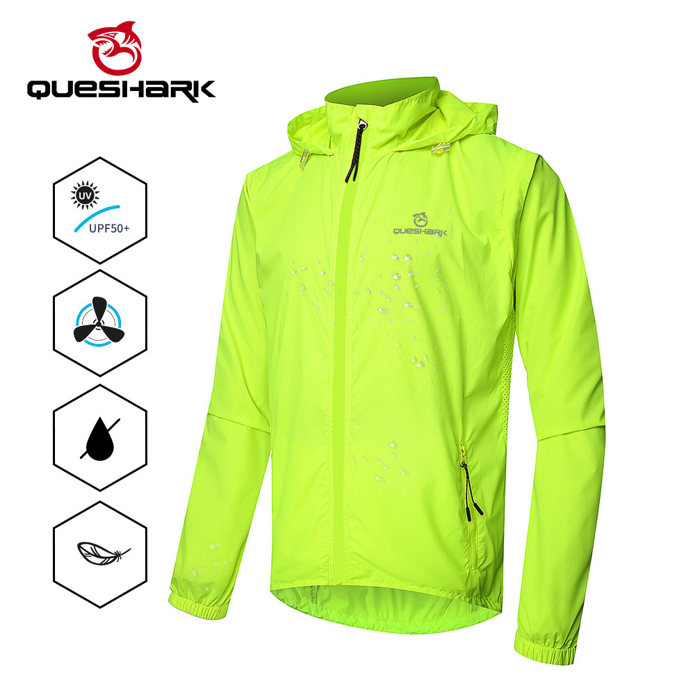 QUESHARK Windproof Cycling Jackets Men Women Riding Waterproof Cycle Clothing Bike Long Sleeve Jerseys Sleeveless Vest