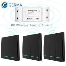 Transmissor esperto sem fio do painel de parede do controlador do botão do receptor do controle remoto do rf do interruptor 433mhz, 2 maneira/3 maneira multi-controle
