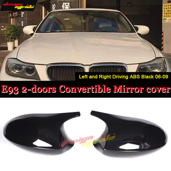 For BMW LCI E93 Convertible Rear Mirror Cover Caps 1M Add on Style 3-Series M3 Look 1:1 Replacement ABS Gloss Black 2-Pcs 10-13