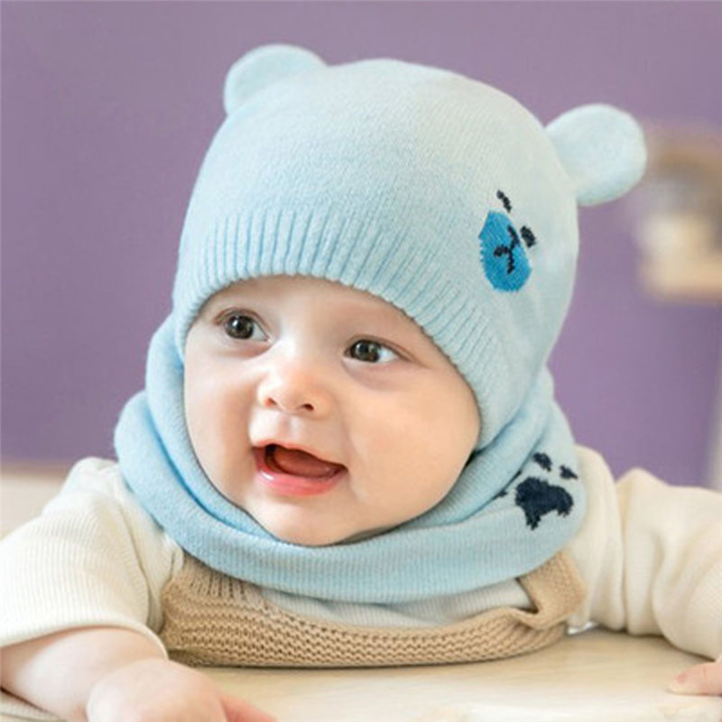 Autumn Winter Warm Toddler Baby Kids Knit Wool Hat Scarf Boys Girls Two-piece Set Cartoon Cute Accessories Beanie Cap Ring Scarf