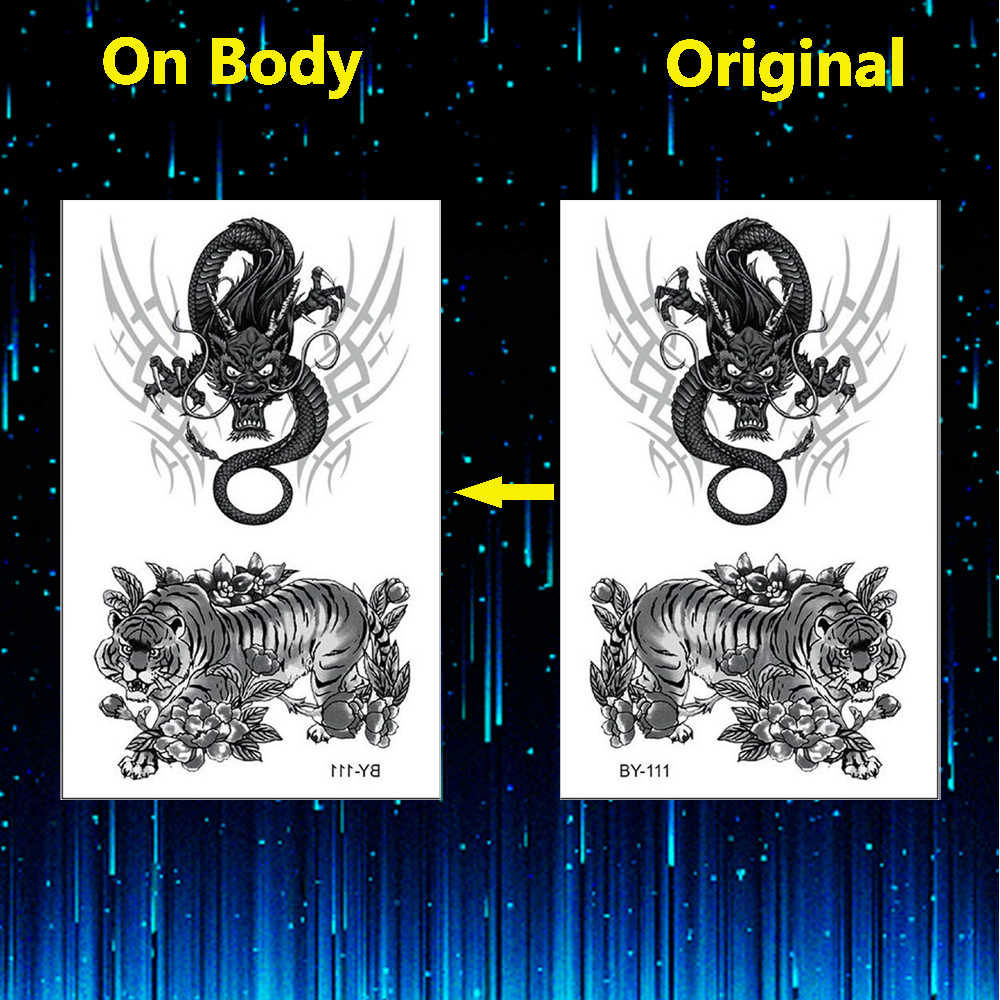 黒虎と龍一時的な入れ墨男性フェイクタトゥー 3D ステッカー Tatouage Temporaire 少年タトゥー Temporaire ボディアート