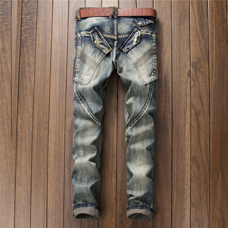 European Style Mens Jeans Punk Biker Trousers Male Streetwear Personalized Straight Leg Vintage Slim Fit Denim Pants Men Clothes