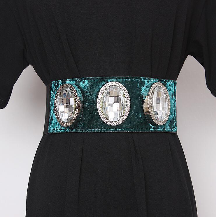 Women's Runway Fashion Diamonds Beaded Velvet Cummerbunds Female Dress Corsets Waistband Belts Decoration Wide Belt R2431