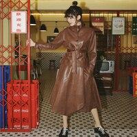 New Europe Fashion Lady Autumn Vintage Designer Two Piece Sets Turtleneck Brown Leather Sashes Jacket + Irregular Leather Skirt