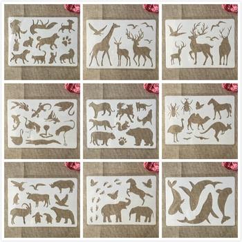 A4 29cm Bear Deer Giraffe Wild Animals DIY Layering Stencils Painting Scrapbook Coloring Embossing Album Decorative Template