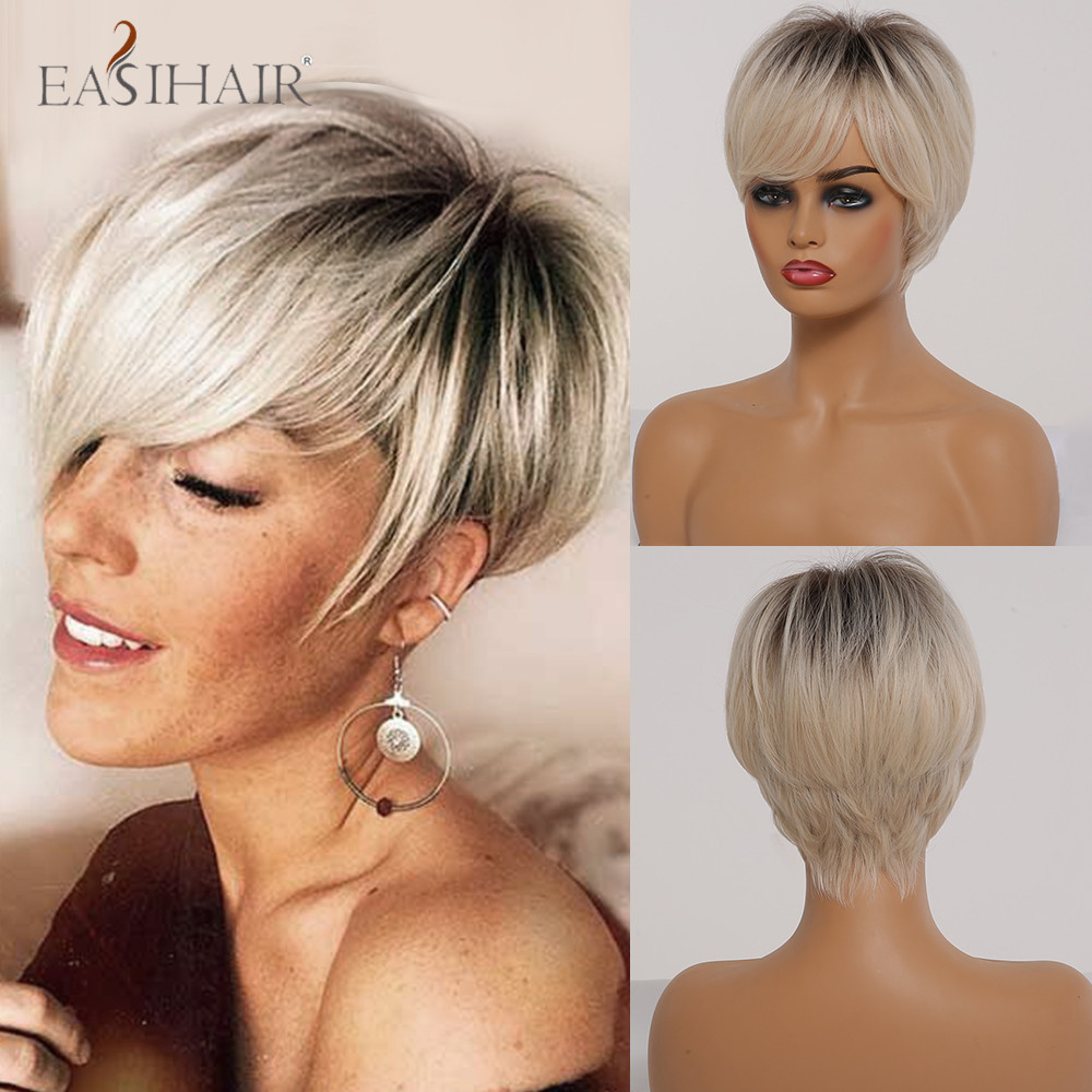 EASIHAIR Short Straight Ombre Blonde Synthetic Hair Wigs With Bangs For Women Daily Wigs Layered Heat Resistant Natural Hair Wig
