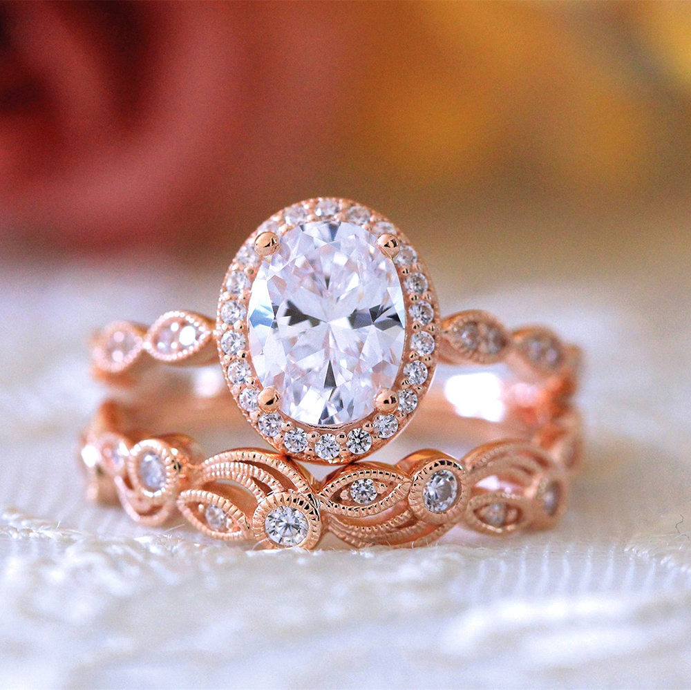 Couple Alliance Paired Ring Set Women Wedding Band Hollow Zircon Oval Rose Gold Color Female Finger Ring Engagement Party DDR136