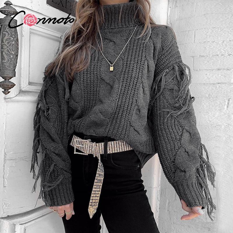Conmoto sólido gris profundo Casual mujeres suéteres 2019 invierno cuello alto suéter de punto de gran tamaño borla de punto jerseys