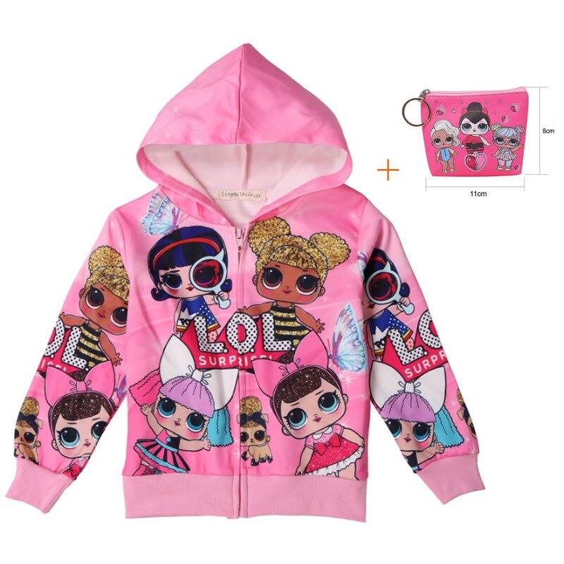 Surprise Girl LOl Cartoon Hooded Tide Fan Coat 2019 New Children's Doll Hooded Cardigan Children's Wear Shirt + Bag