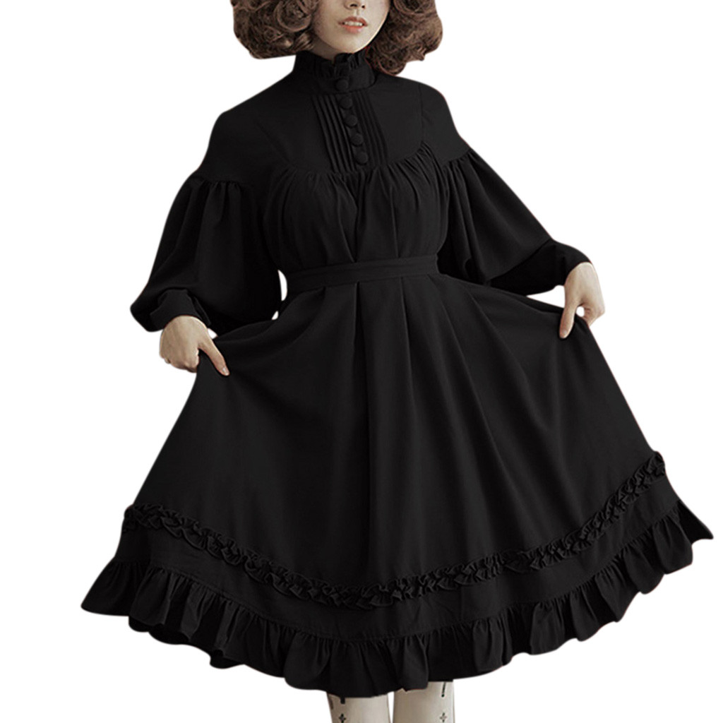 gothic lolita dress Women s Long Sleeve Loose Stand Collar Lace Lantern Sleeve Cute Small Party