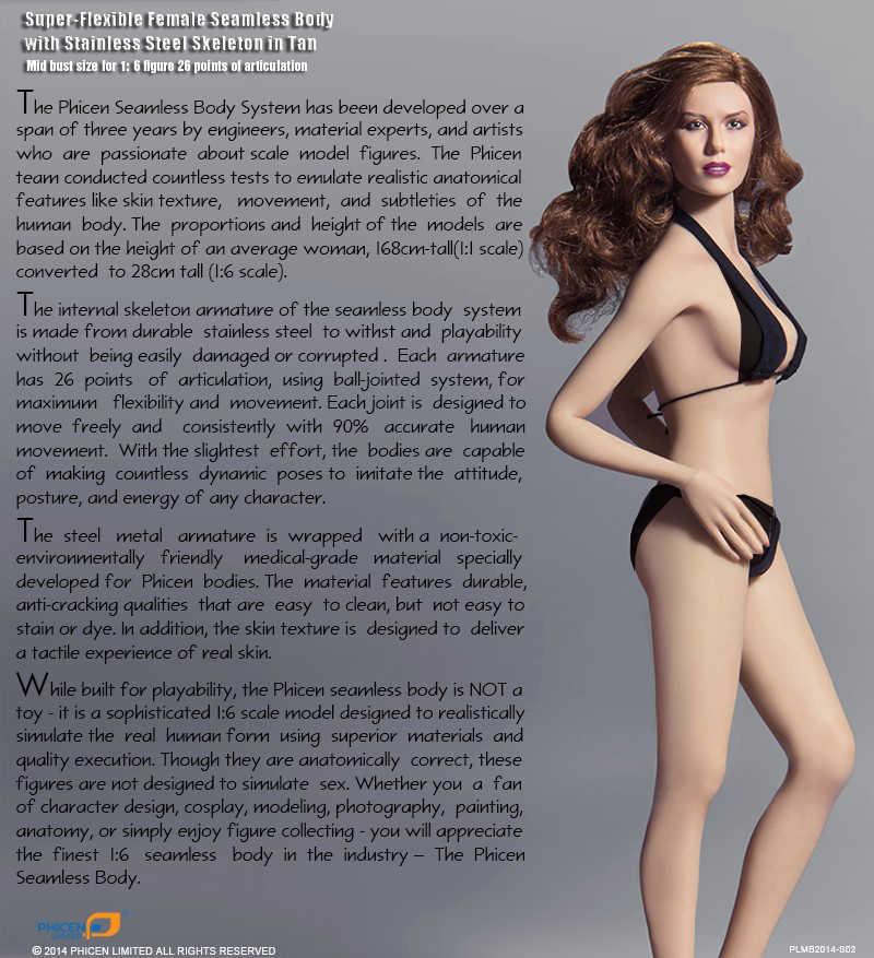 In Stockt Bleague PLMB2014-S01 S02 S07 1/6 Schaal Meisje Vrouwelijke Vrouwen Bleke/Zonnebrand Medium Buste Naadloze Flexibel Lichaam Pop W Hoofd
