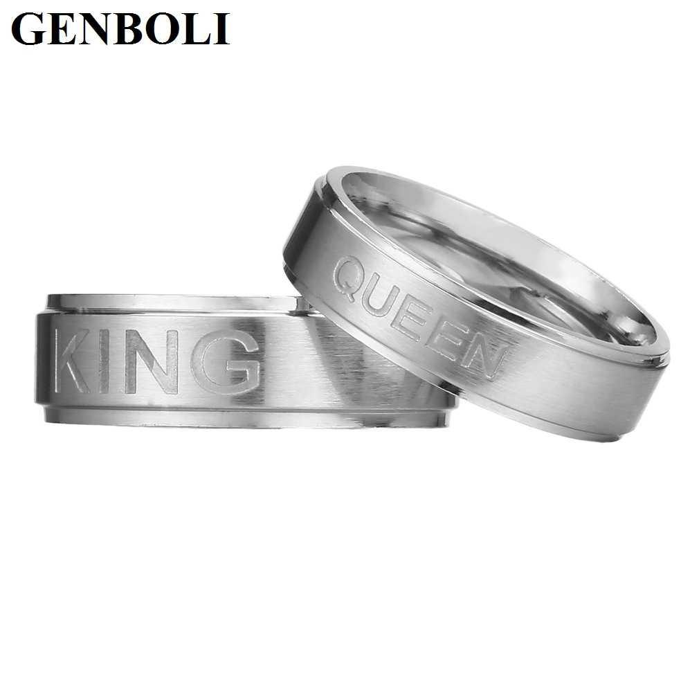 אופנה 1pcs פשוט נירוסטה מלך או מלכת טבעת עבור נשים אוהבי זוג טבעות תכשיטי AccessoriesClearance