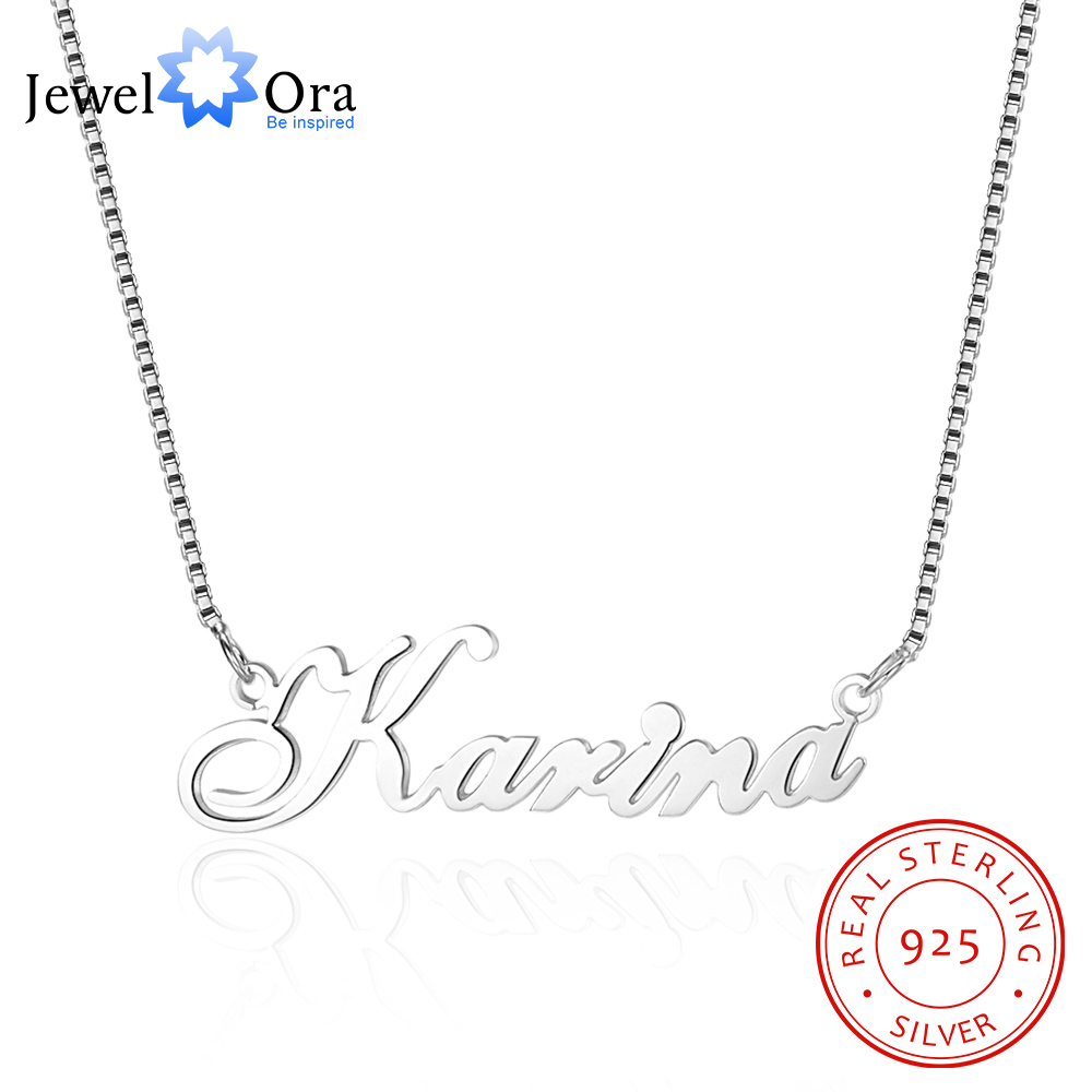 Custom 925 Sterling Silver Name Necklace Russian Personalized Nameplate Necklace Jewelry Gift For Women (JewelOra NE101548)