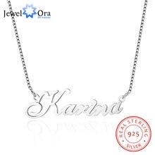 Jewelora Custom 925 Sterling Zilveren Naam Ketting Russische Gepersonaliseerde Naamplaat Ketting Sieraden Cadeau Voor Vrouwen