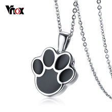 "Vnox Can Open Dog Cat Paw Pendant for Women Necklace Stainless Steel Pet Animal Female Jewelry Openable Bijoux 20"" Chain(China)"