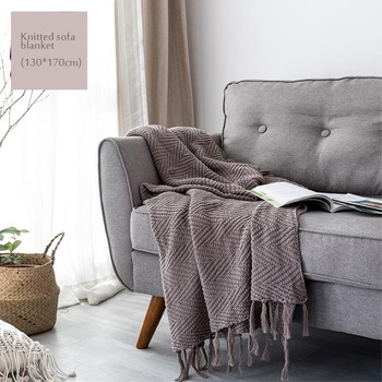 Adult Knitted Throw Blanket Solid Grey Blanket Throw Home Cover Beach Travel Bed Sofa Use Home Textile Blue Khaki Green Yellow