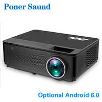 Poner Saund M6 LED Proyector Newest Video Projector Android WiFi Support Full HD 1080P Movie HDMI LCD Home Theater Projector