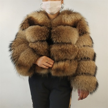 Real Raccoon Silver Fox Fur Detachable Sleeve Coat Natural Winter Women Length 50 cm image