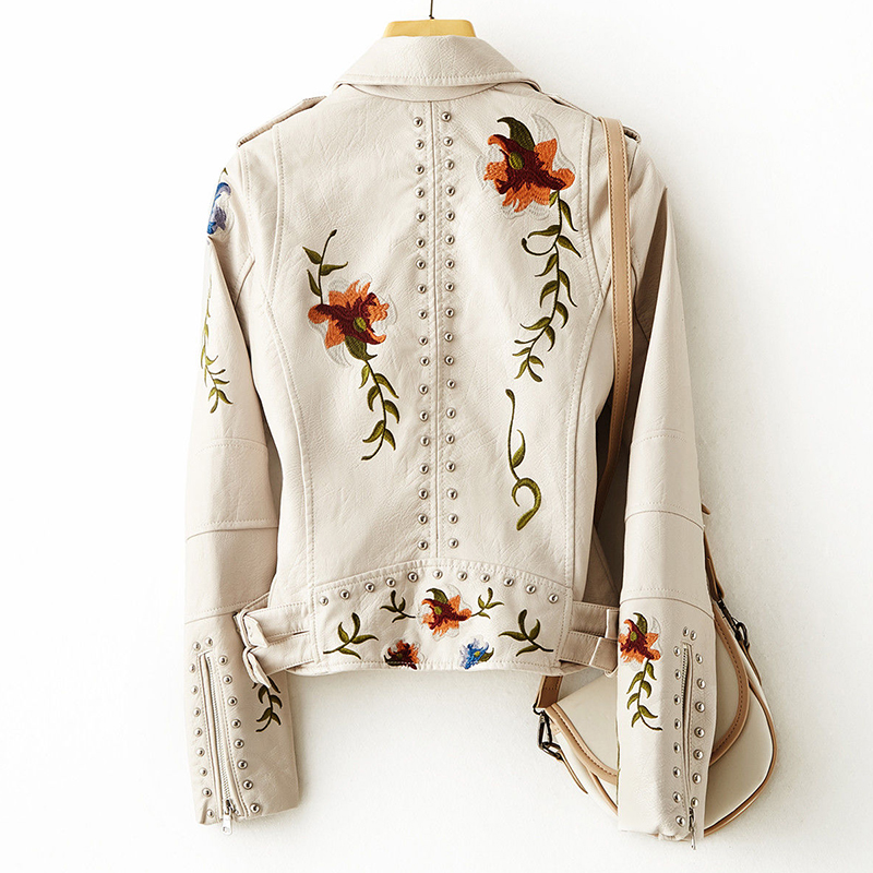 New Women Retro Floral Print Embroidery Faux Soft Leather Jacket Coat Turndown Collar Pu Moto Biker Black Punk Outerwear