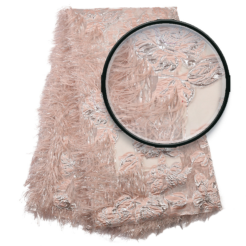 Popular Design Lace Fabric Nigeria High Quality African  With Feather Tulle Fabric For Nigeria Wedding Dress 5 Yards Y574