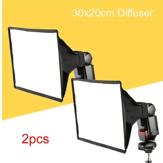 """2 יחידות האוניברסלי 30x20 ס""""מ כיכר פלאש Softbox מפזר עבור Canon Nikon Sony Yongnuo מץ Speedlite Godox"""