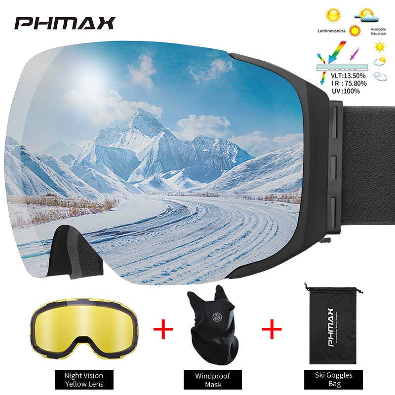 Магнитные лыжные очки PHMAX, зимние двухслойные противотуманные лыжные очки, антибликовые очки для сноуборда с желтыми линзами для мужчин и женщин, для мужчин