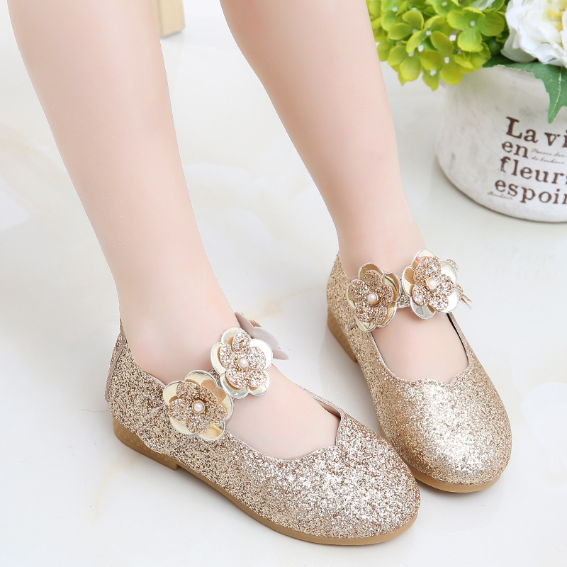 Leather Girls Shoes Flowers Party Shoes For Baby Princess Shoes For Kids Children Flats Dress Shoe White Sandal