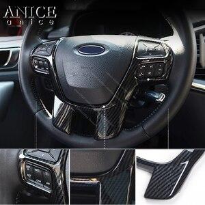 Image 3 - Cor de fibra carbono quadro do volante decorador capa para ford ranger everest endeavour 2015 2016 2017 2018 2019 2020 2021