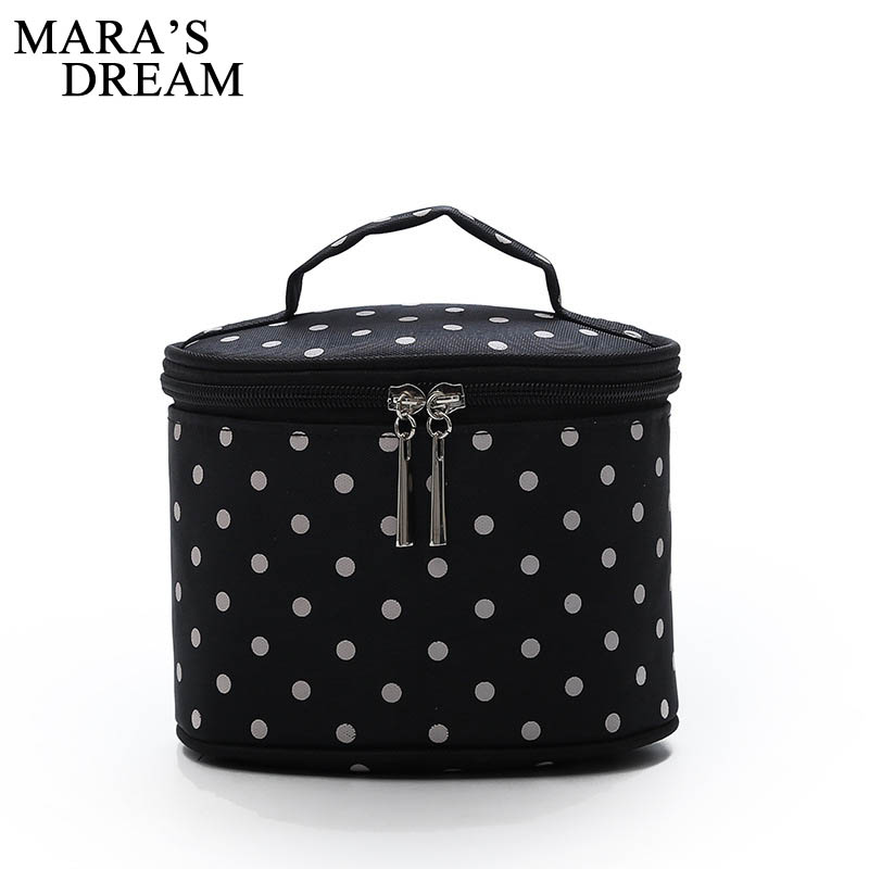 Mara's Dream 2019 New Women's Bag Polka Dot Cosmetic Bag Candy Round Bucket Bag Portable Makeup Storage Bag Small Bag