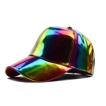 Dishi Unisex Adjustable Shiny Holographic Baseball Cap Rainbow Reflective Hip Hop Rave Hat Metallic Casual - sale item Hats & Caps