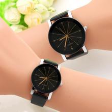 Модные круглые парные часы, горячая распродажа, черные и белые коричневые часы с кожаным циферблатом, мужские и женские студенческие часы с темпераментом