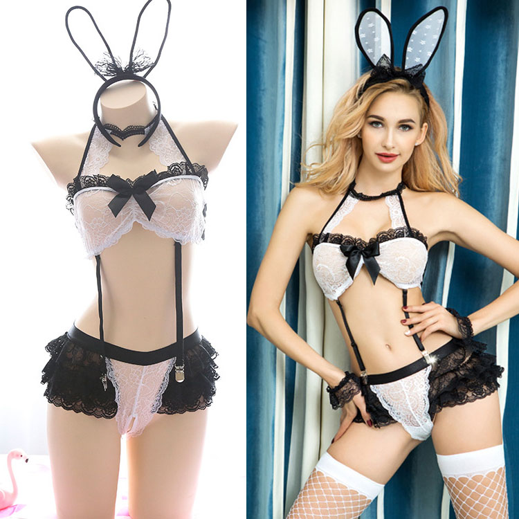 <font><b>Sexy</b></font> Erotic Lingerie Set Cosplay Bunny Girl Babydoll Uniform Halter Bra <font><b>Sexy</b></font> <font><b>Halloween</b></font> Costume for Women Bunny Costume Party image