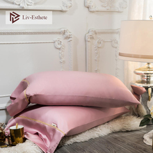 Liv-Esthete 100% Silk Pink Pillowcase Women Luxury 25 Momme Beauty Healthy Hair Pillow case Standard For Man Bed Pillow Cover