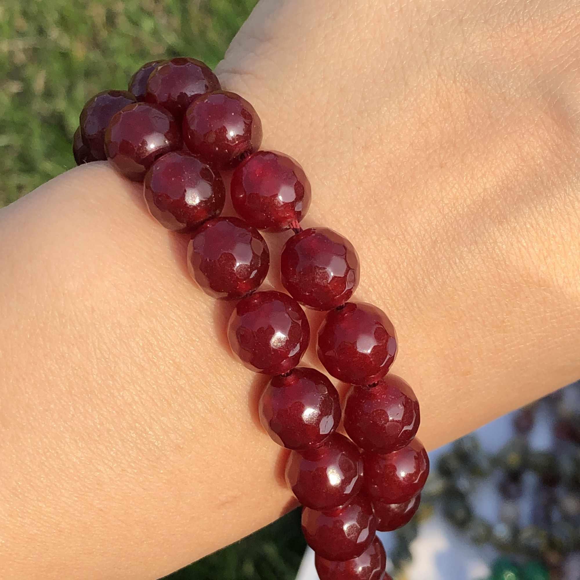 3 rangées 2x4mm Naturel Facette Rouge Jade calcédoine gemmes Blotter perles bracelet