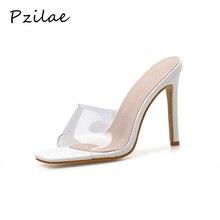 Pzilae boy 41 42 PVC kadın ayakkabı üzerinde kayma moda sandalet kare ayak slaytlar bayanlar yüksek topuk terlik ayakkabı pompaları parti pompaları