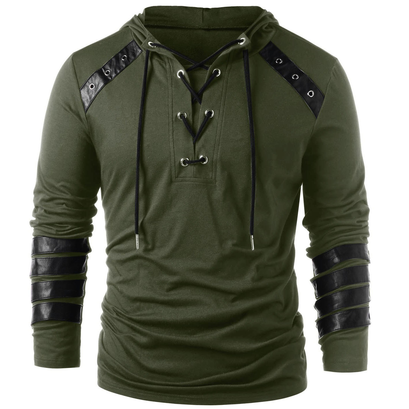 2019 Men's Hoodie Leather Straps Long-sleeved Shirt Slim Lace Hooded Pullover Top