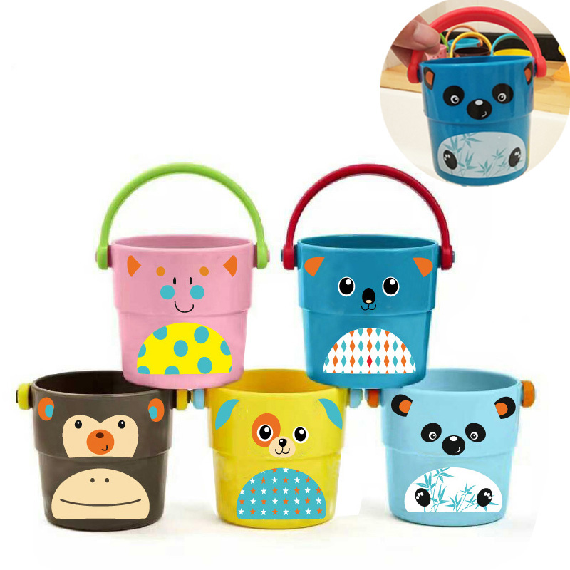 Baby Bath Toys Cartoon Small Water Bucket Kids Cartoon Animal Beach Watering Shower Toy Stacked Mini Bucket For 9 Month Infants